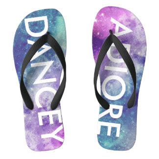 Monogram Pastel Space Galaxy Flip Flops