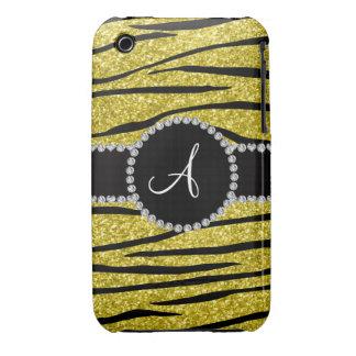 Monogram pastel yellow glitter zebra stripes circl Case-Mate iPhone 3 case