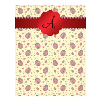 Monogram pastel yellow ladybugs hearts 21.5 cm x 28 cm flyer