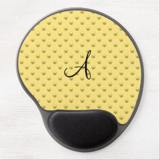 Monogram pastel yellow pearl polka dots gel mouse pad