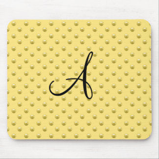Monogram pastel yellow pearl polka dots mouse pad