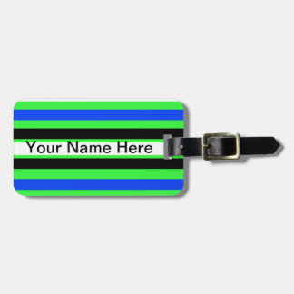 Monogram Pattern in Black White Blue Green Stripes Luggage Tag
