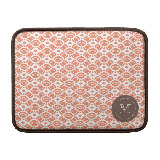 Monogram Pattern Mac Book Air Sleeve Orange