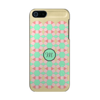 Monogram peach aqua gold pattern Personalise Incipio Feather® Shine iPhone 5 Case