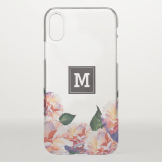 Monogram. Peach Floral Pattern. iPhone X Case