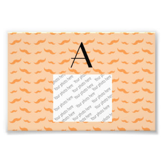 Monogram peach orange mustache pattern photo print