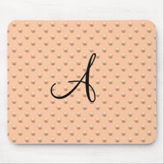 Monogram peach orange pearl polka dots mouse pad