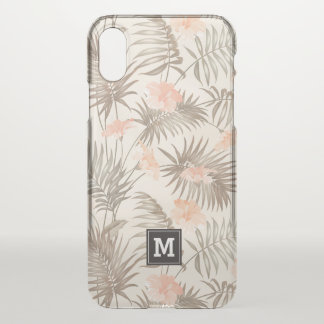 Monogram. Peach Tropical Hibiscus Floral Pattern. iPhone X Case