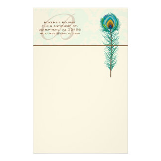 Monogram Peacock Feather Stationery