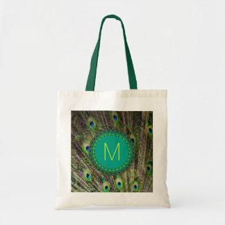 Monogram Peacock Tote Budget Tote Bag