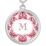Monogram Pendant Initials Necklace Red Damask