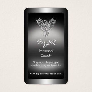 Monogram, Personal Trainer, silver-look Phoenix Business Card