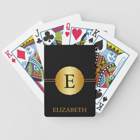 Monogram Personalised Black & Gold Bicycle Playing Cards