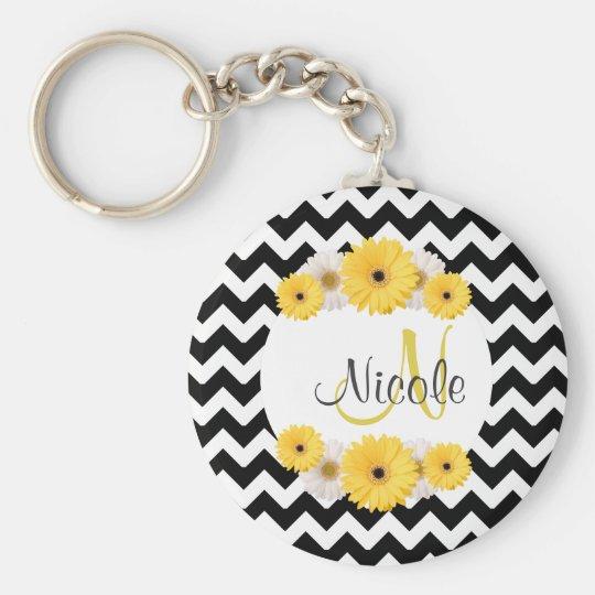 Monogram Personalised black white chevron Daisy Basic Round Button Key Ring