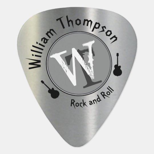 monogram - personalised faux silver guitar pick