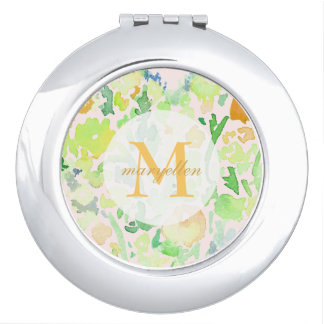 Monogram Personalized Abstract Floral Compact Compact Mirror