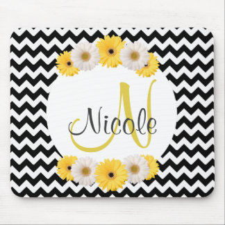 Monogram Personalized black white chevron Daisy Mouse Mat