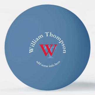 monogram - personalized blue ping pong ball