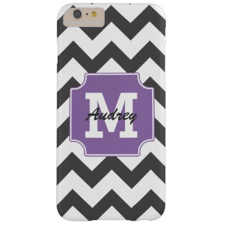 Monogram Personalized Purple Black Chevron Barely There iPhone 6 Plus Case