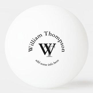 monogram . personalized white ping pong ball