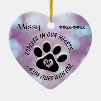 Monogram Pet Memorial Heart Ceramic Heart Decoration