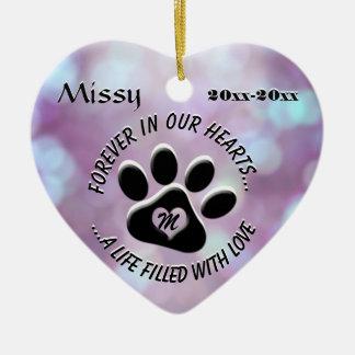 Monogram Pet Memorial Heart Christmas Ornament