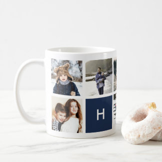Monogram Photo Collage Mug | Navy