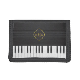 Monogram piano gold trifold wallet
