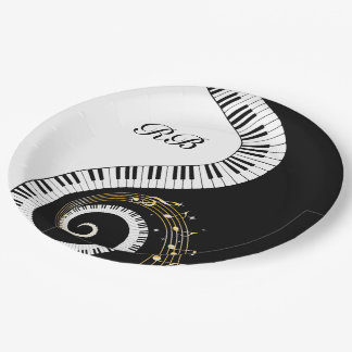 Monogram Piano Keys and Musical Notes 9 Inch Paper Plate