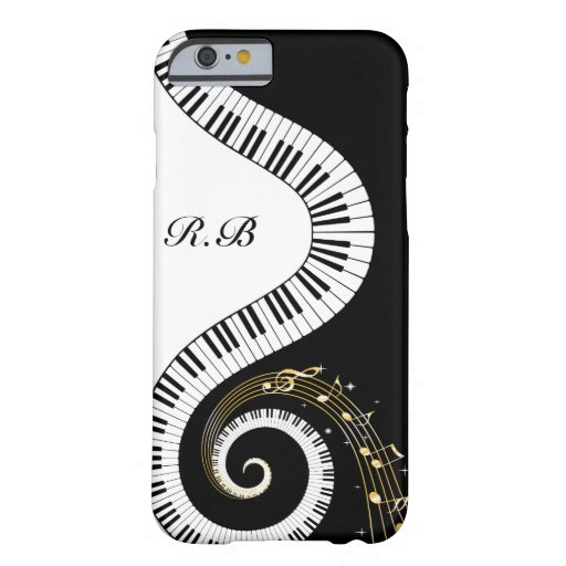 Monogram Piano Keys and  Musical Notes iPhone 6 Case