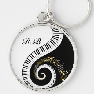 Monogram Piano Keys and Musical Notes Key Ring