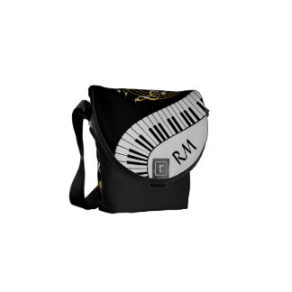 Monogram Piano Keys and  Musical Notes Messenger Bags
