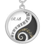 Monogram Piano Keys and  Musical Notes Round Pendant Necklace