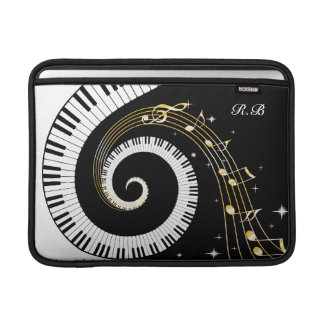 Monogram Piano Keys and  Musical Notes Sleeve For MacBook Air