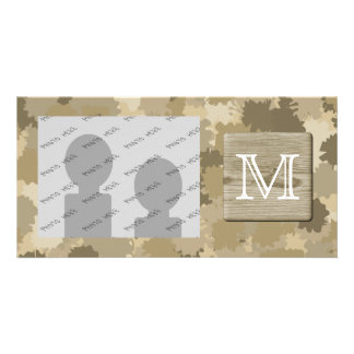 Monogram Picture of Wood Brown Splotch Pattern Photo Cards