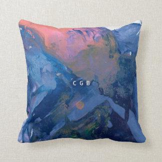 Monogram Pillow - Modern - Pink Blue Abstract Art