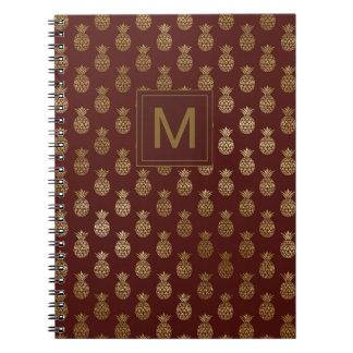 Monogram | Pineapple Gold Burgundy Notebook