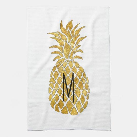 monogram pineapple tea towel