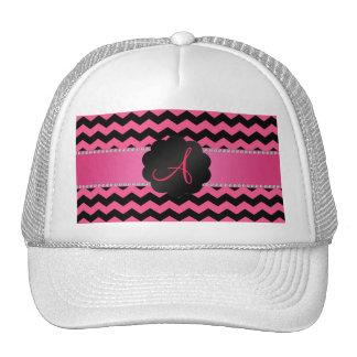 Monogram pink and black chevrons cap