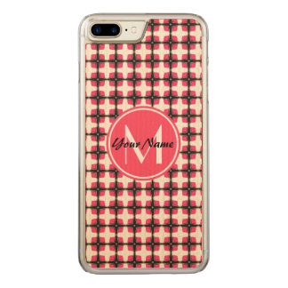 Monogram Pink and Black Stylish Pattern Carved iPhone 8 Plus/7 Plus Case