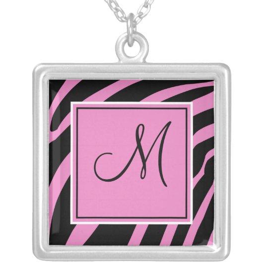 Monogram Pink and Black Zebra Necklace