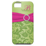 Monogram Pink and Green Damask iPhone 5 Vibe Case For The iPhone 5