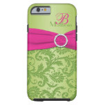 Monogram Pink and Green Damask iPhone 6 case Vibe Tough iPhone 6 Case