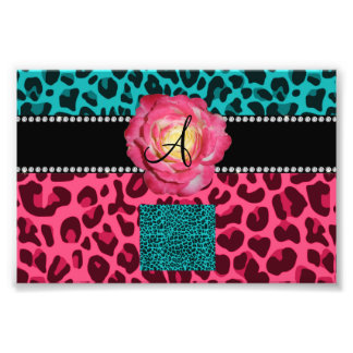 Monogram pink and turquoise leopard pattern rose photograph