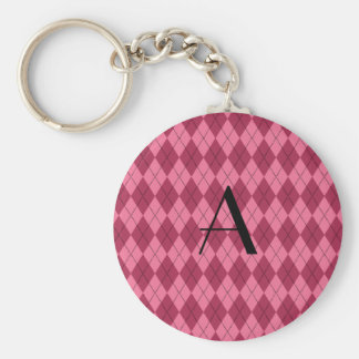 Monogram pink argyle key chain