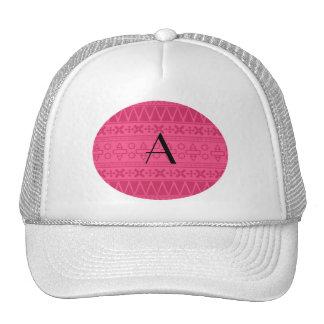 Monogram pink aztec pattern cap