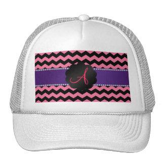 Monogram pink black chevrons cap