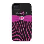 Monogram Pink Black Glitter Zebra iPhone 4/4S Vibe Case-Mate iPhone 4 Cases