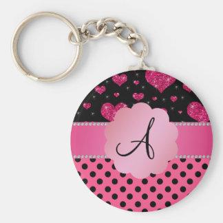 Monogram pink black polka dots pink glitter hearts keychains