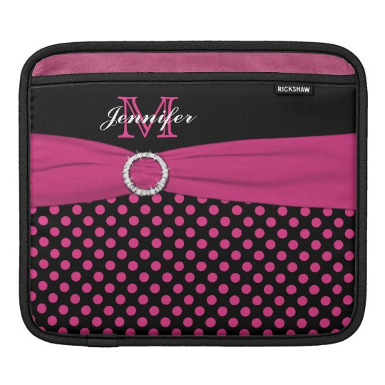 Monogram Pink, Black Polka Dots with FAUX Ribbon Sleeve For iPads